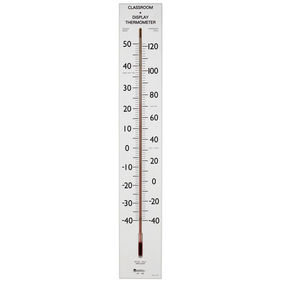 LER0399 - Giant Classroom Thermometer 30T Dual-Scale Wooden Frame in Weather