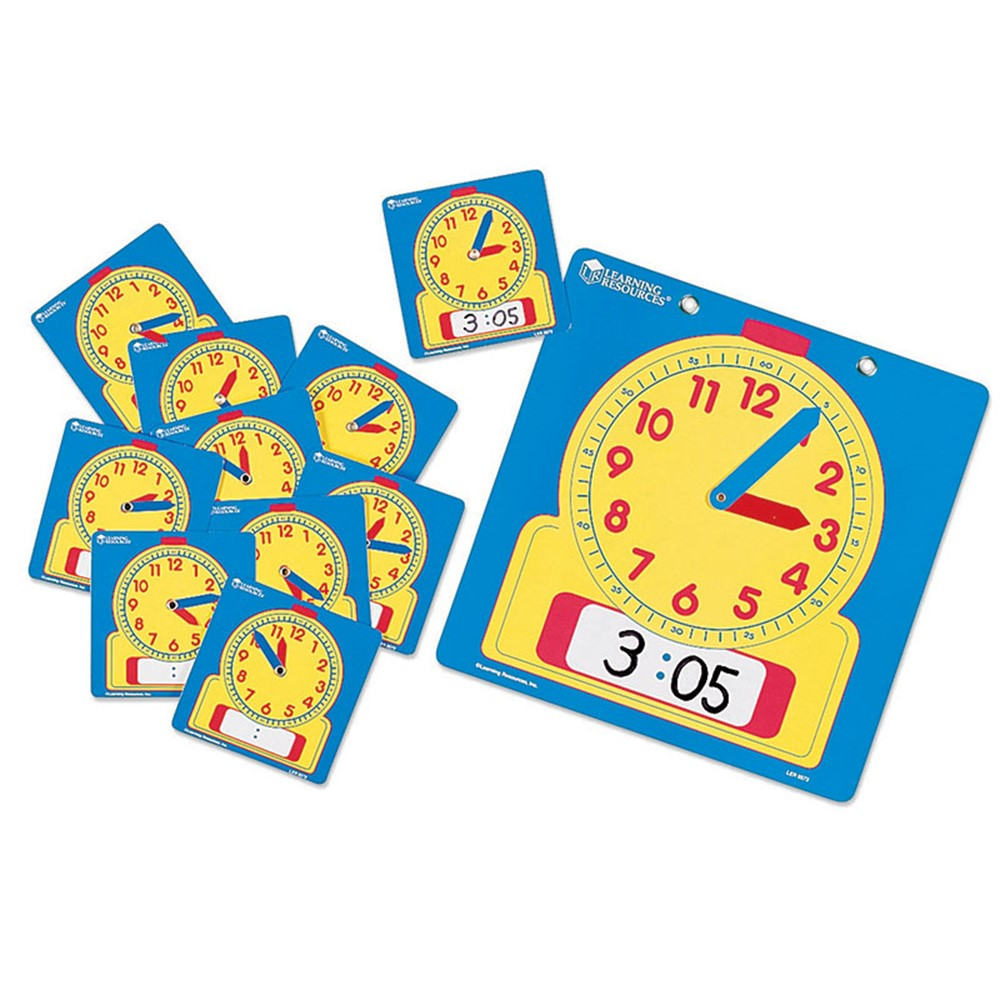 LER0572 - Write-On/Wipe-Off Clocks 10/Pk Student 4-1/2 Square in Time
