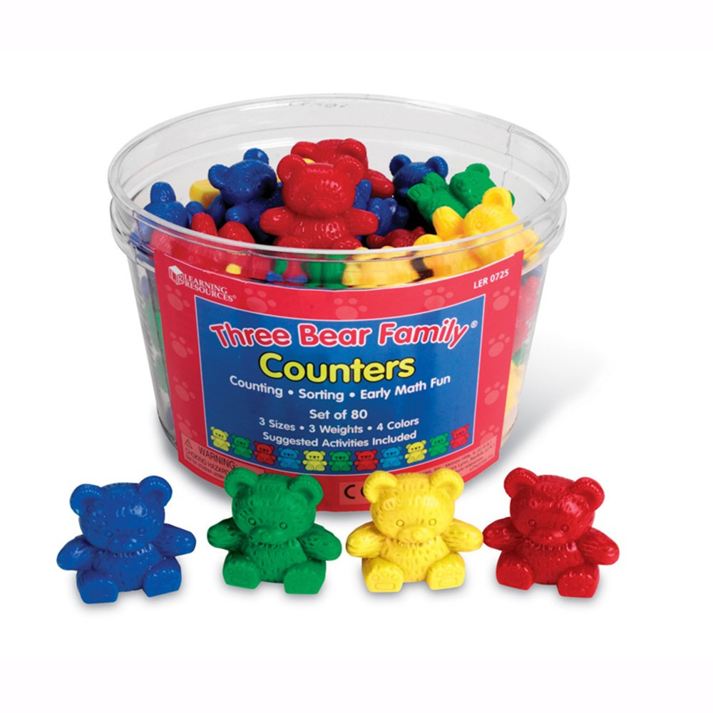 LER0725 - Three Bear Family Basic Set 80/Pk 3 Sizes 4 Colors in Counting
