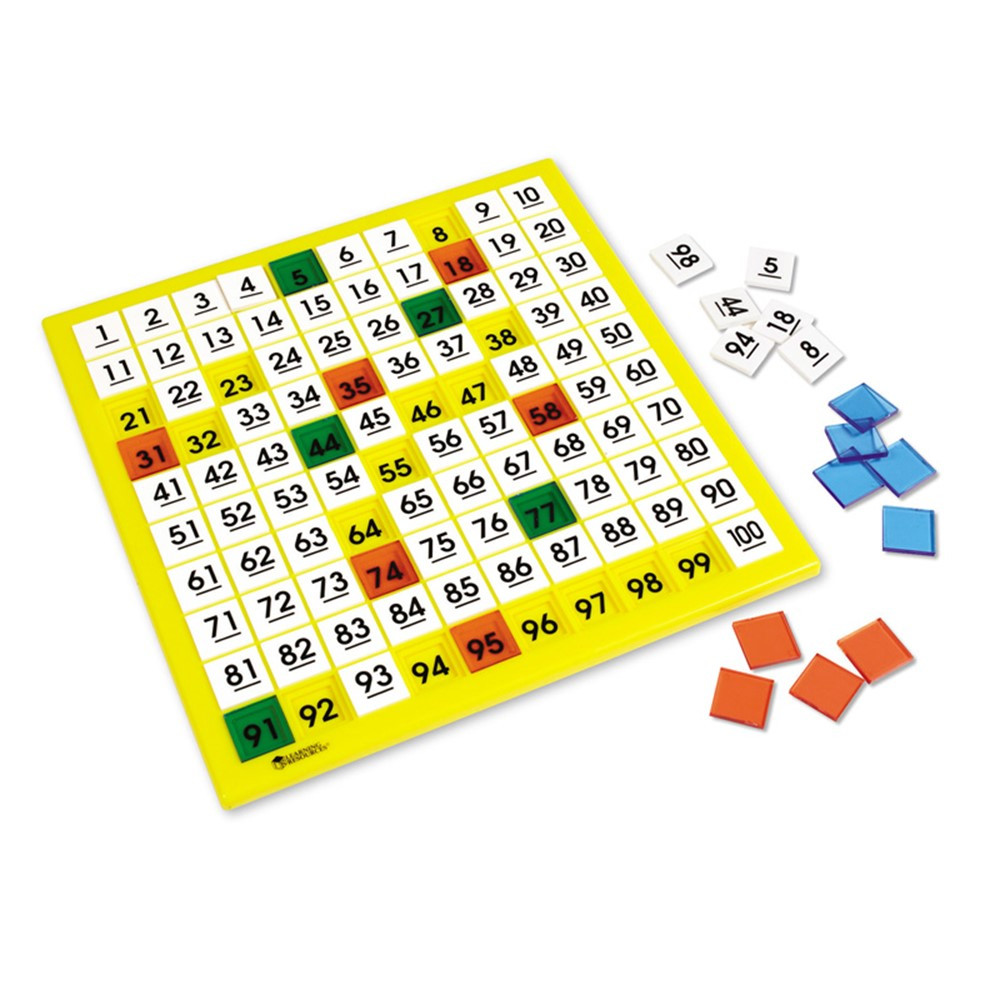 LER1331 - Hundreds Number Board 12 X 12 Plastic Double-Sided in Numeration