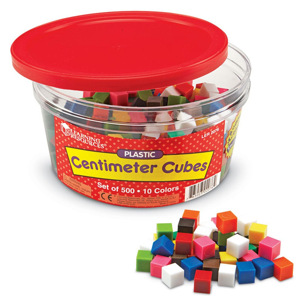 LER2076 - Centimeter Cubes 500-Pk 10 Colors In Storage Tub in Counting