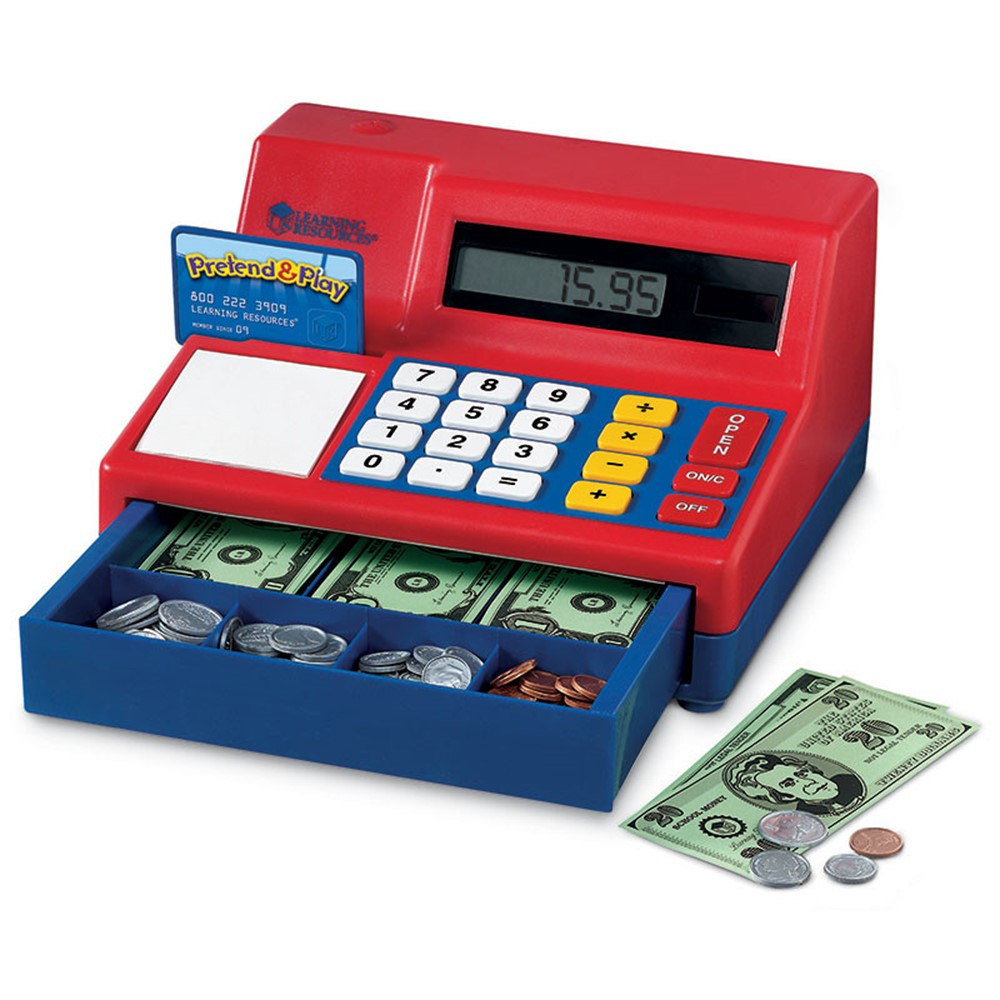 LER2629 - Calculator Cash Register W/ Us Currency in Shopping
