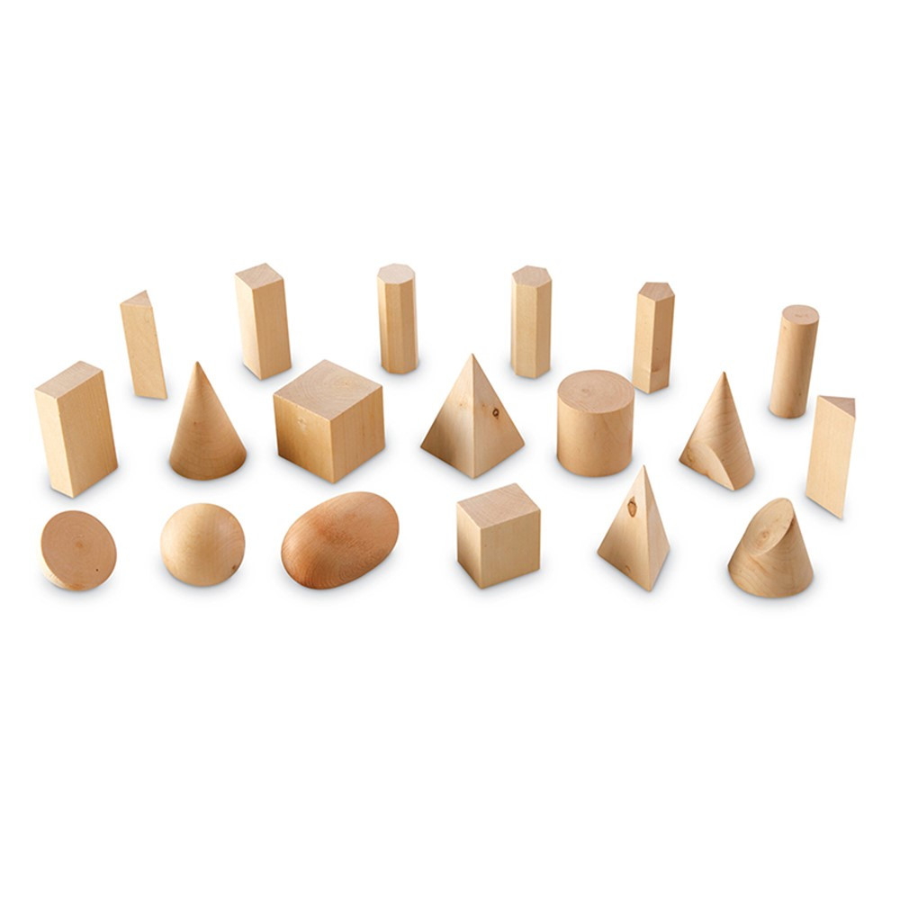 LER4298 - Wooden Geometric Solids Set Of 19 in Geometry