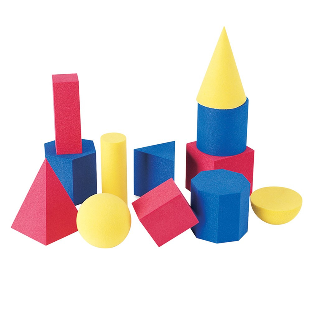LER6120 - Hands-On Soft Geometric 12/Pk Shapes 2-3 3 Colors in Geometry