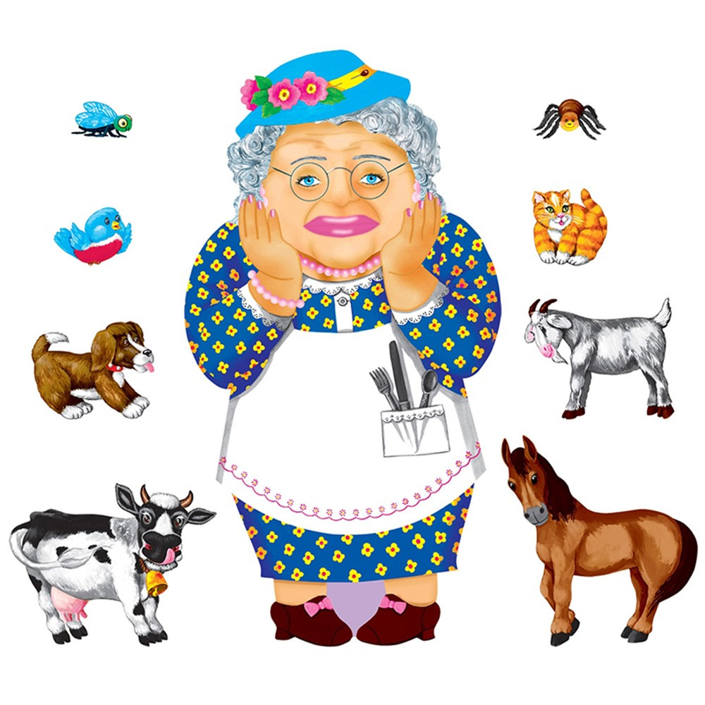 LFV22706 - Old Lady Who Swallowed A Fly Felt Set in Flannel Boards