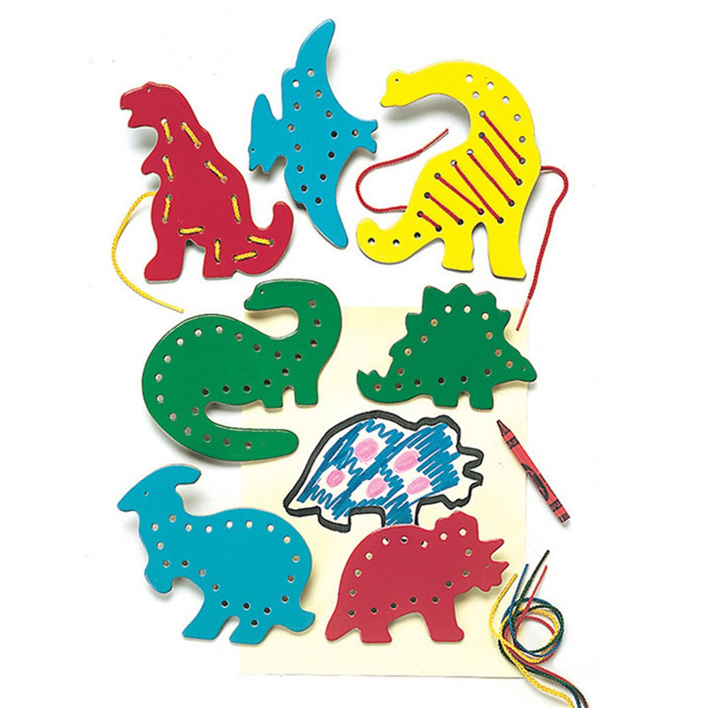 LR-2571 - Lacing & Tracing Dinosaurs 7/Pk Ages 3-7 in Lacing