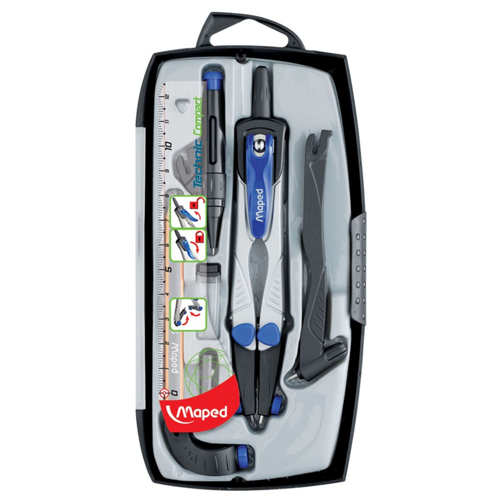 MAP538717 - Maped Technic Compass 7 Piece Set in Drawing Instruments