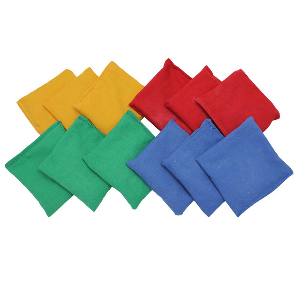 MASBB44 - Bean Bags 4 X 4 12-Pk Nylon Cover Plastic Bead Filling in Bean Bags & Tossing Activities