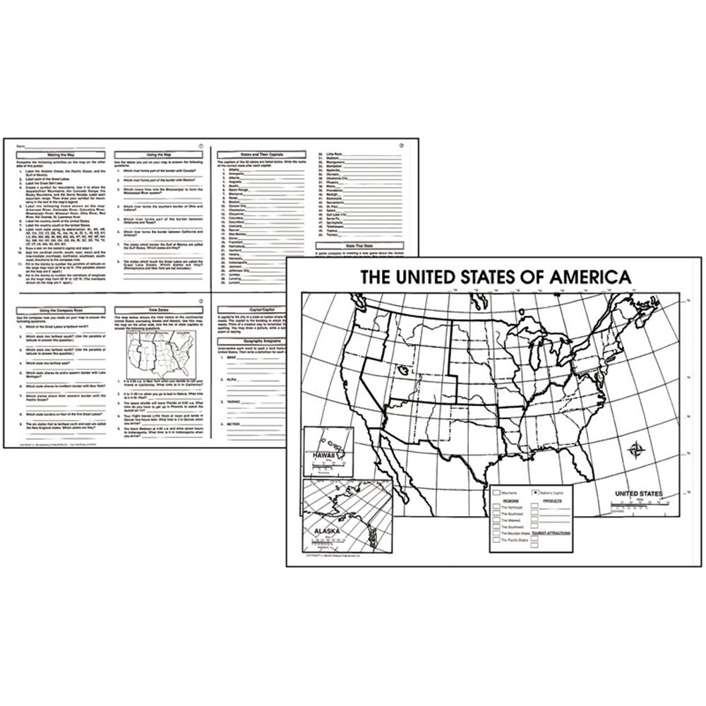 MC-M237 - Activity Posters The Us 30/Set Gr 4-8 in Maps & Map Skills