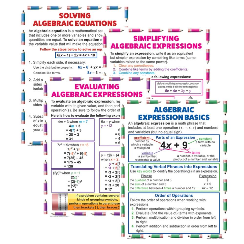 Algebraic Equation Teach Poster Set Mc P088 Mcdonald Publishing