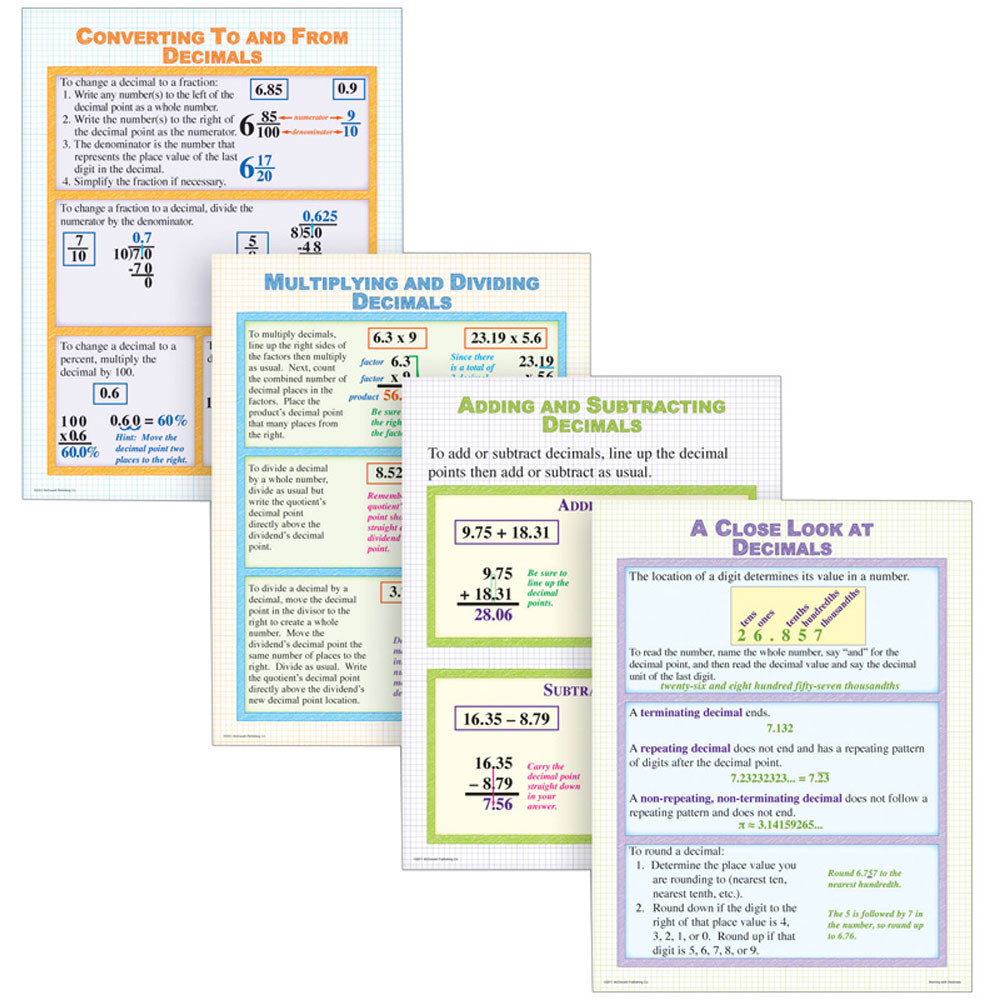 working with decimals poster set - mc-p173 | mcdonald publishing