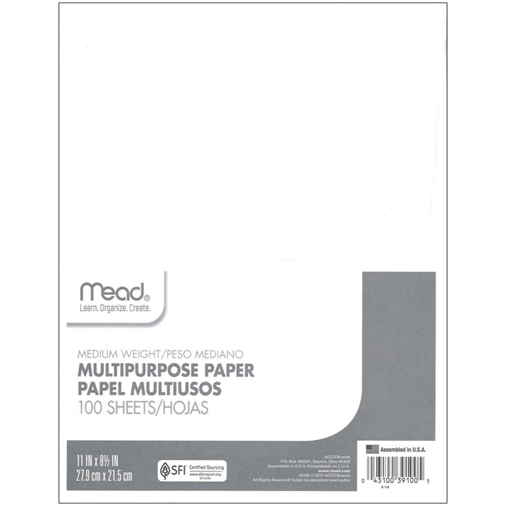 MEA39100 - Paper Typing 8 1/2 X 11 100 Ct in Loose Leaf Paper