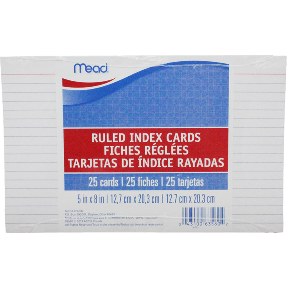 MEA63580 - Cards Index Ruled 5 X 8 25 Ct in Index Cards