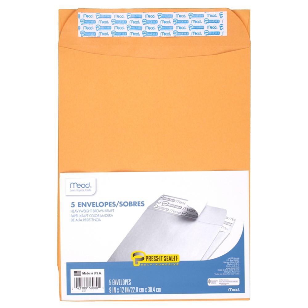 MEA76080 - Mead Press It Seal It 5Ct 9 X 12 Envelopes in Envelopes