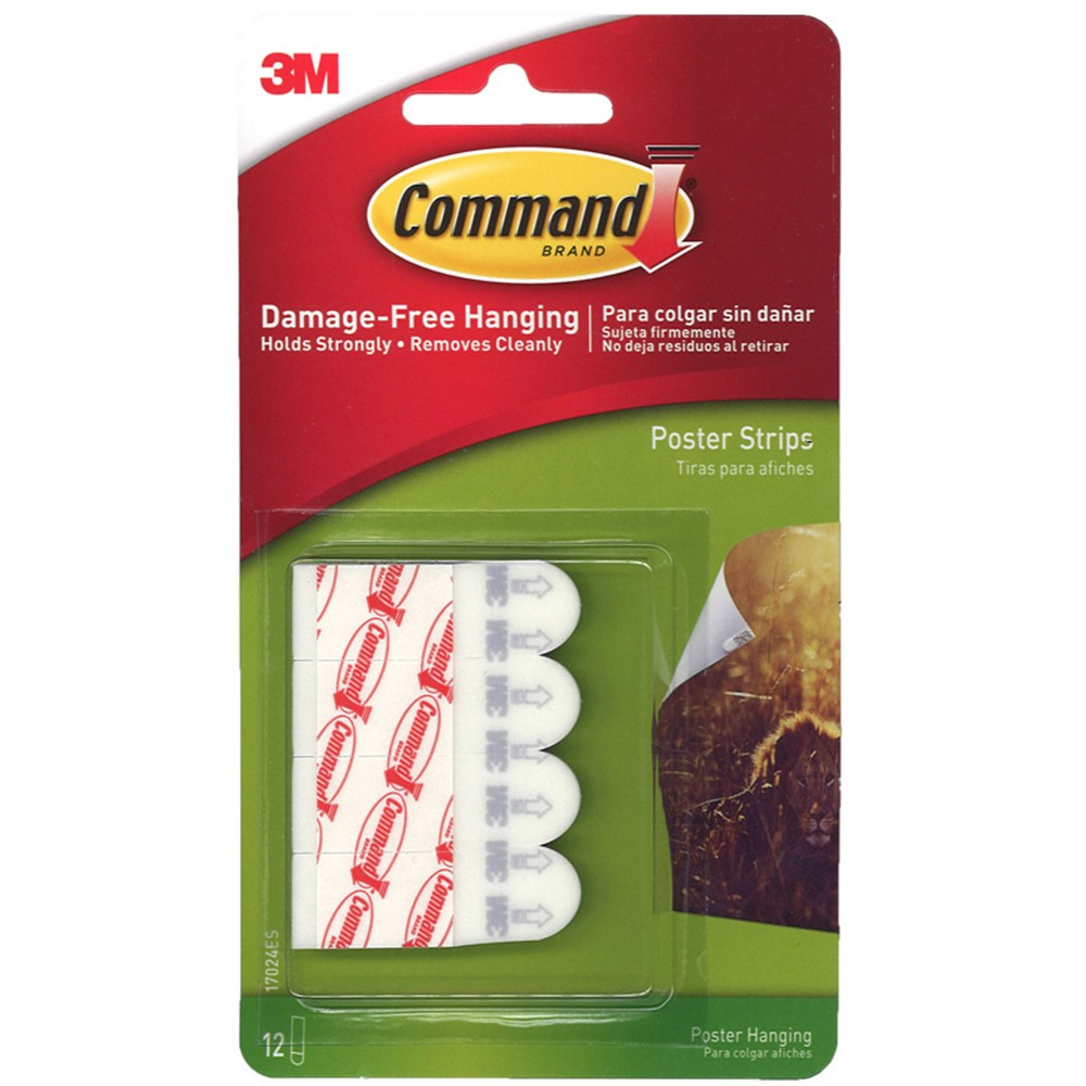 MMM17024 - 3M Command Poster Strips 12 Strips Per Pk in Adhesives