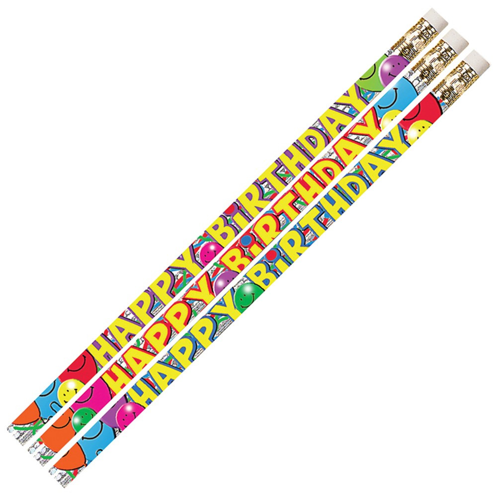 MUS2214D - Birthday Bash 12Pk Motivational Fun Pencils in Pencils & Accessories