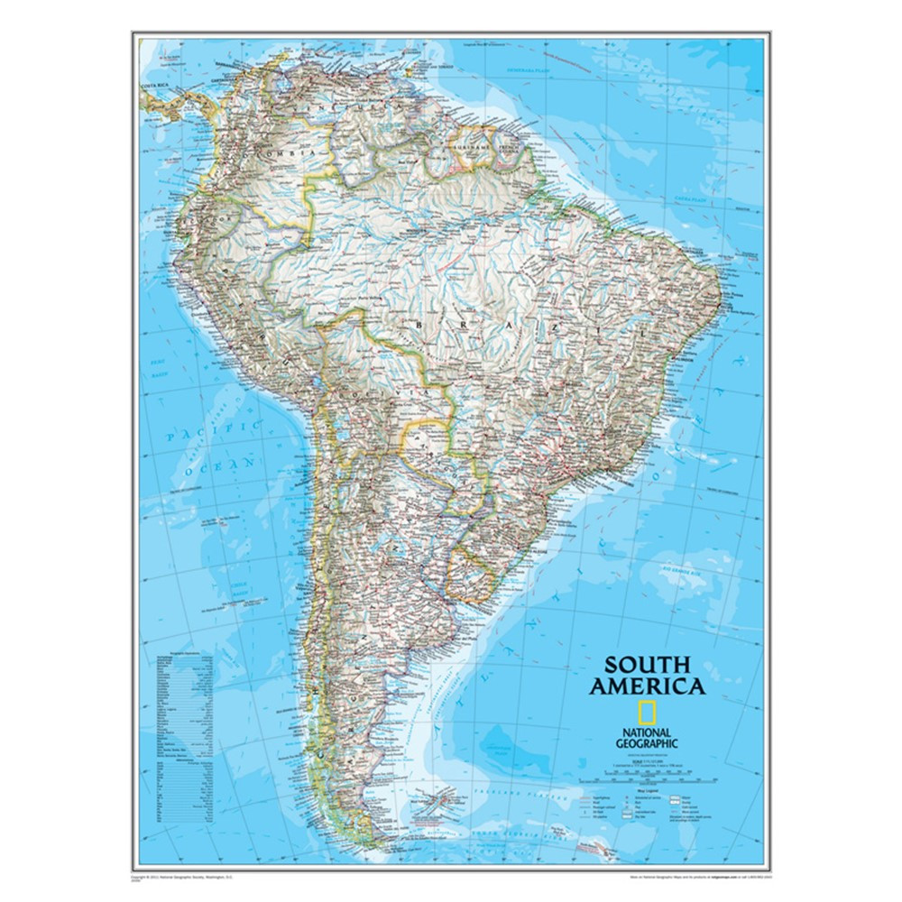 NGMRE00620150 - South America Wall Map 24 X 30 in Maps & Map Skills