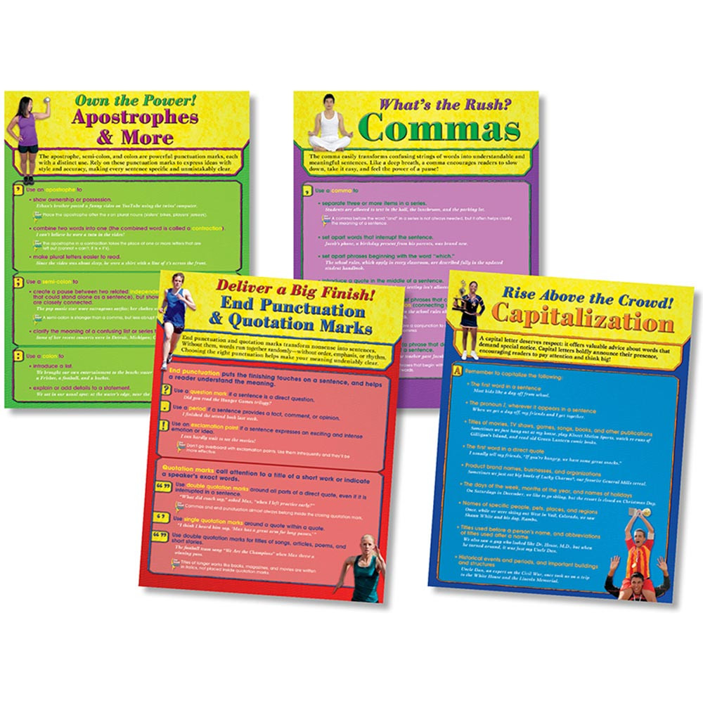 NST3063 - Punctuation Power Bulletin Board Set 17X22 4Pc in Language Arts