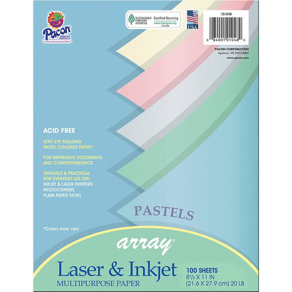 PAC101048 - Array Multipurpose 100Sht Pastel Colors Paper in Design Paper/computer Paper