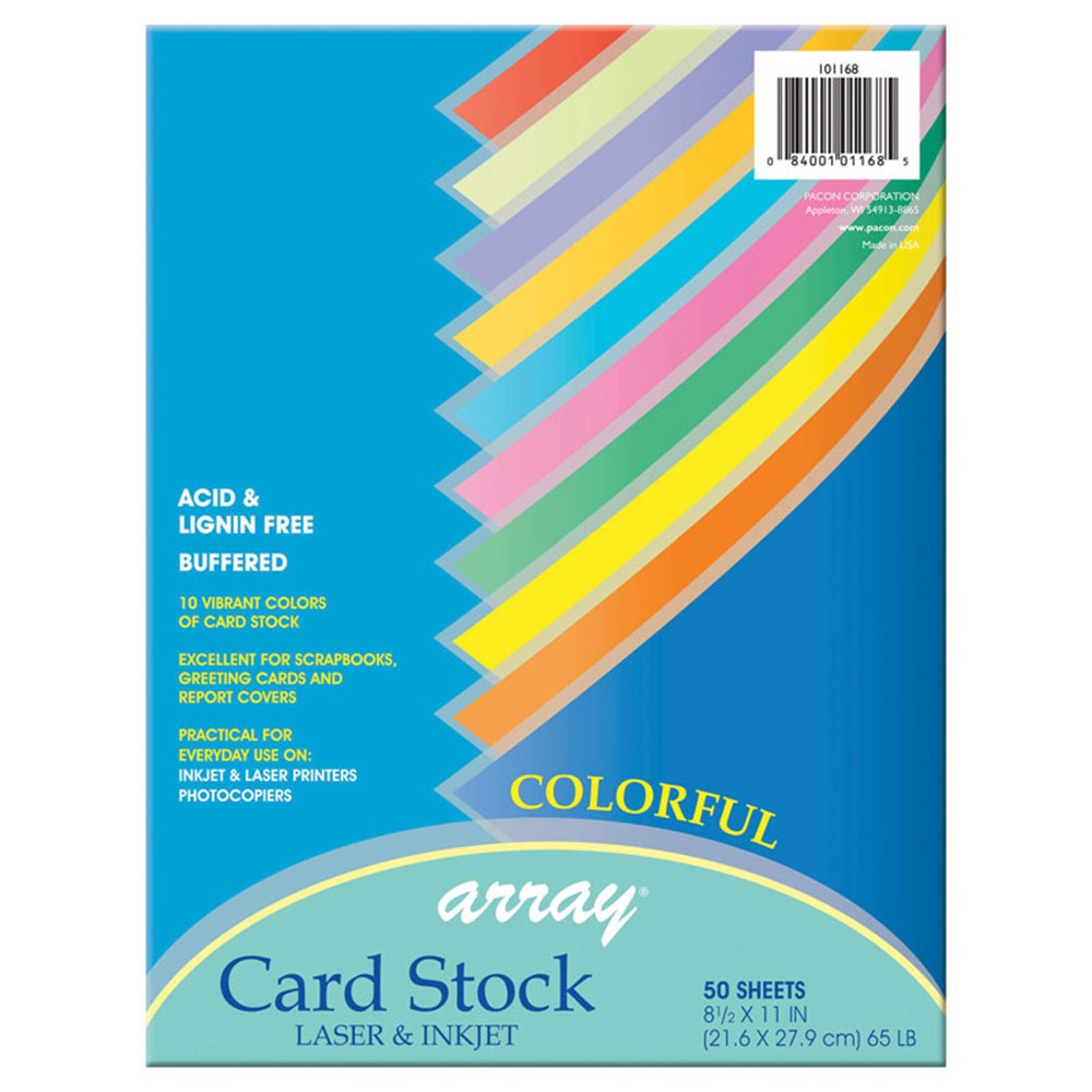 PAC101168 - Pacon Card Stock 8.5X11 Colorful 50 Sheets in Card Stock