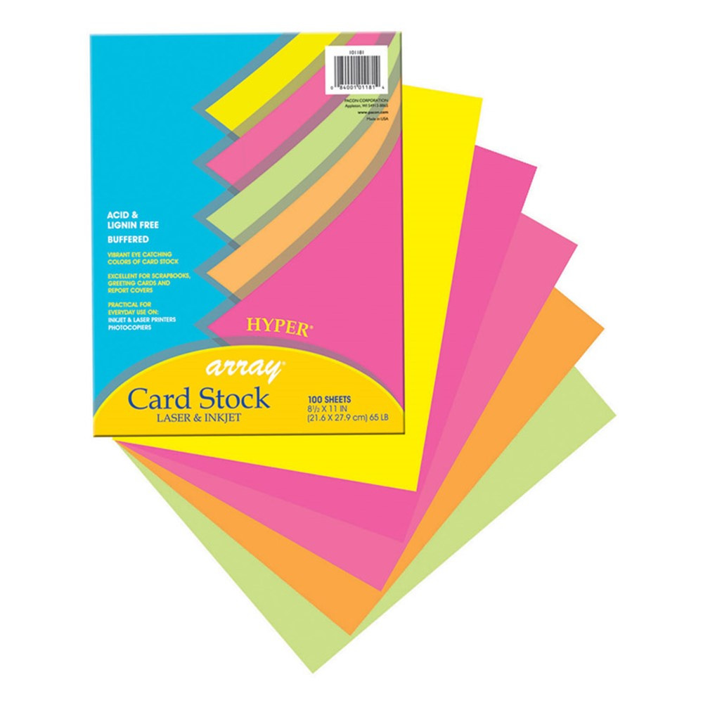 PAC101181 - Array Card Stock Hyper 100 Sht Assortment 5 Colors 8- 1/2 X 11 in Card Stock