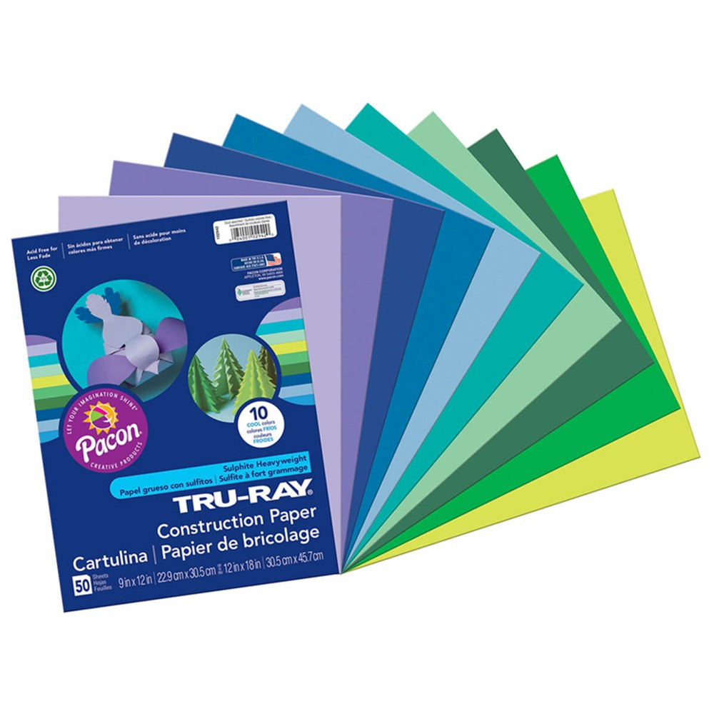 PAC102942 - Tru Ray Cool Assts 9X12 50 Sht in Construction Paper