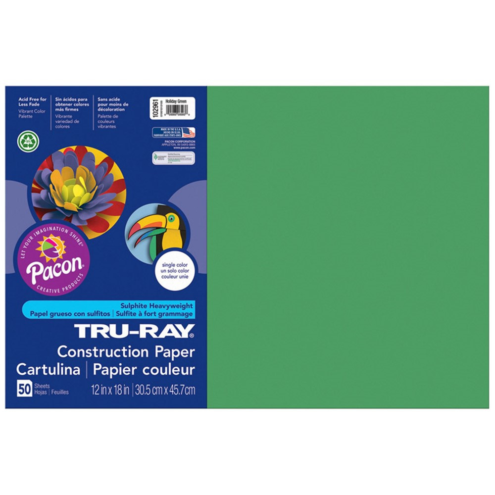 PAC102961 - Tru Ray 12 X 18 Holiday Green 50Sht Construction Paper in Construction Paper