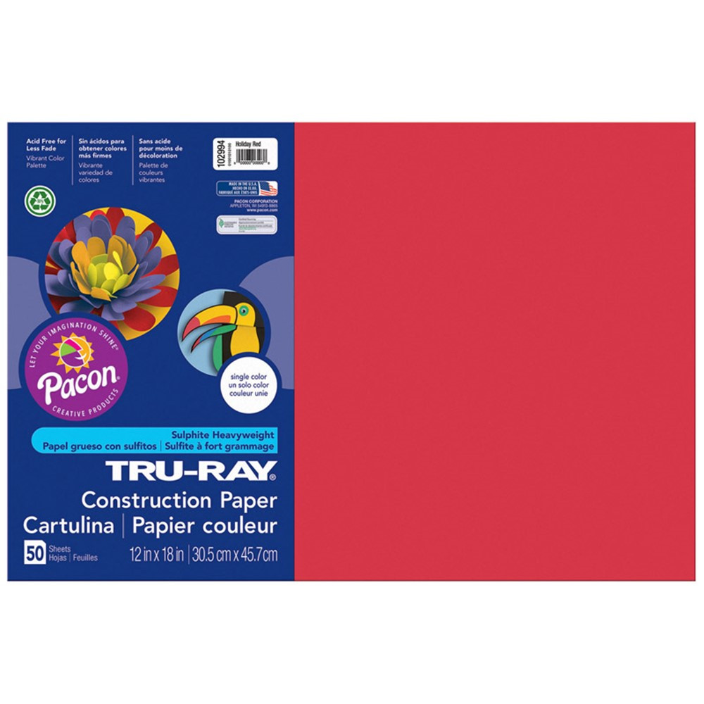 PAC102994 - Tru Ray 12 X 18 Holiday Red 50 Sht Construction Paper in Construction Paper