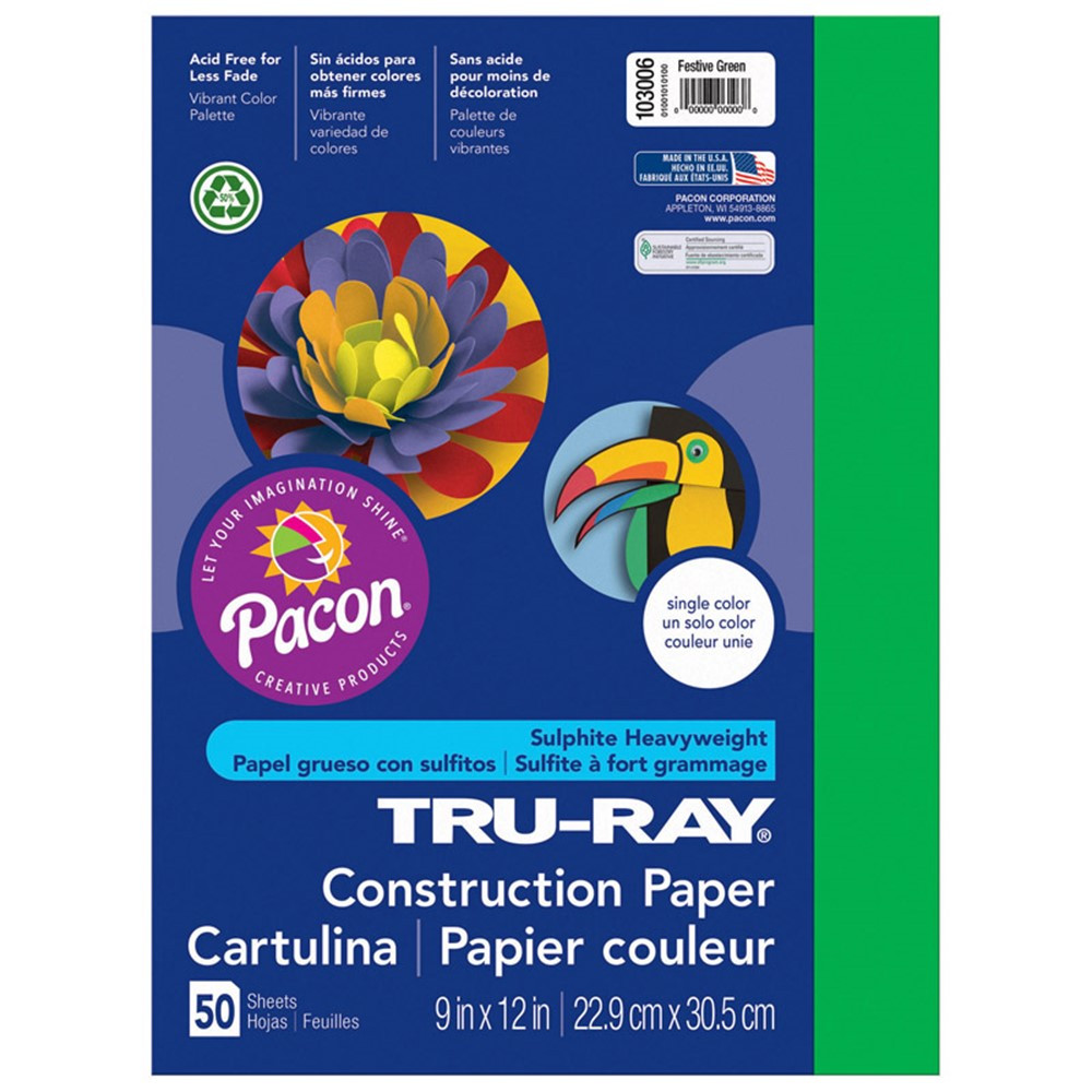 PAC103006 - Tru Ray 9 X 12 Forest Green 50 Sht Construction Paper in Construction Paper