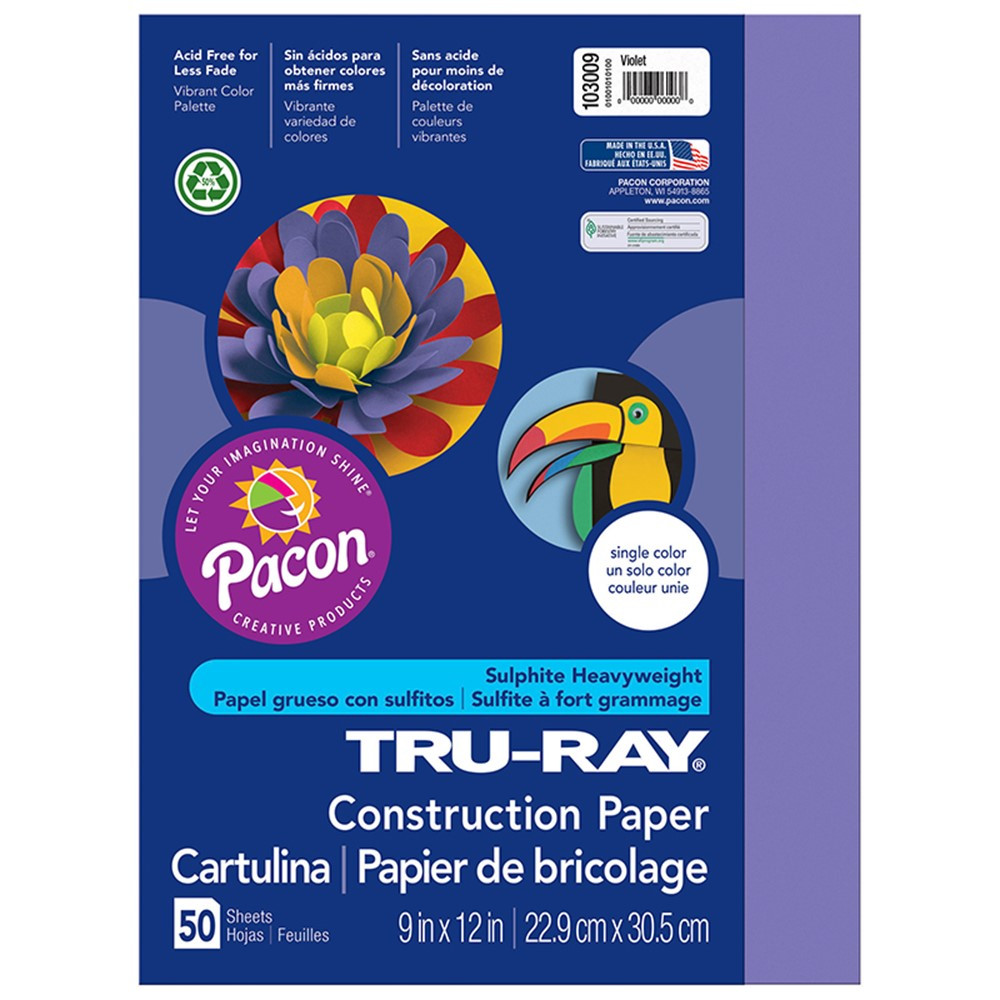 PAC103009 - Tru Ray 9 X 12 Violet 50 Sht Construction Paper in Construction Paper