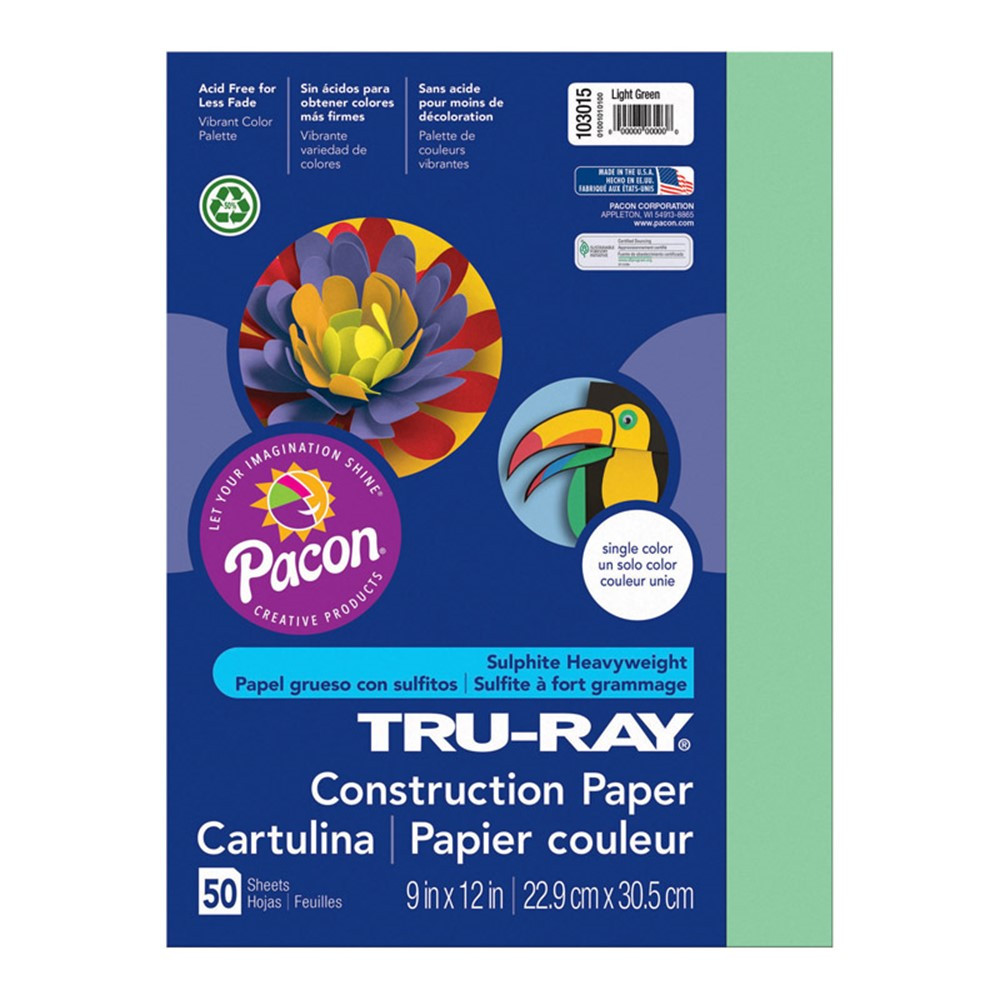 PAC103015 - Tru Ray 9 X 12 Light Green 50 Sht Construction Paper in Construction Paper