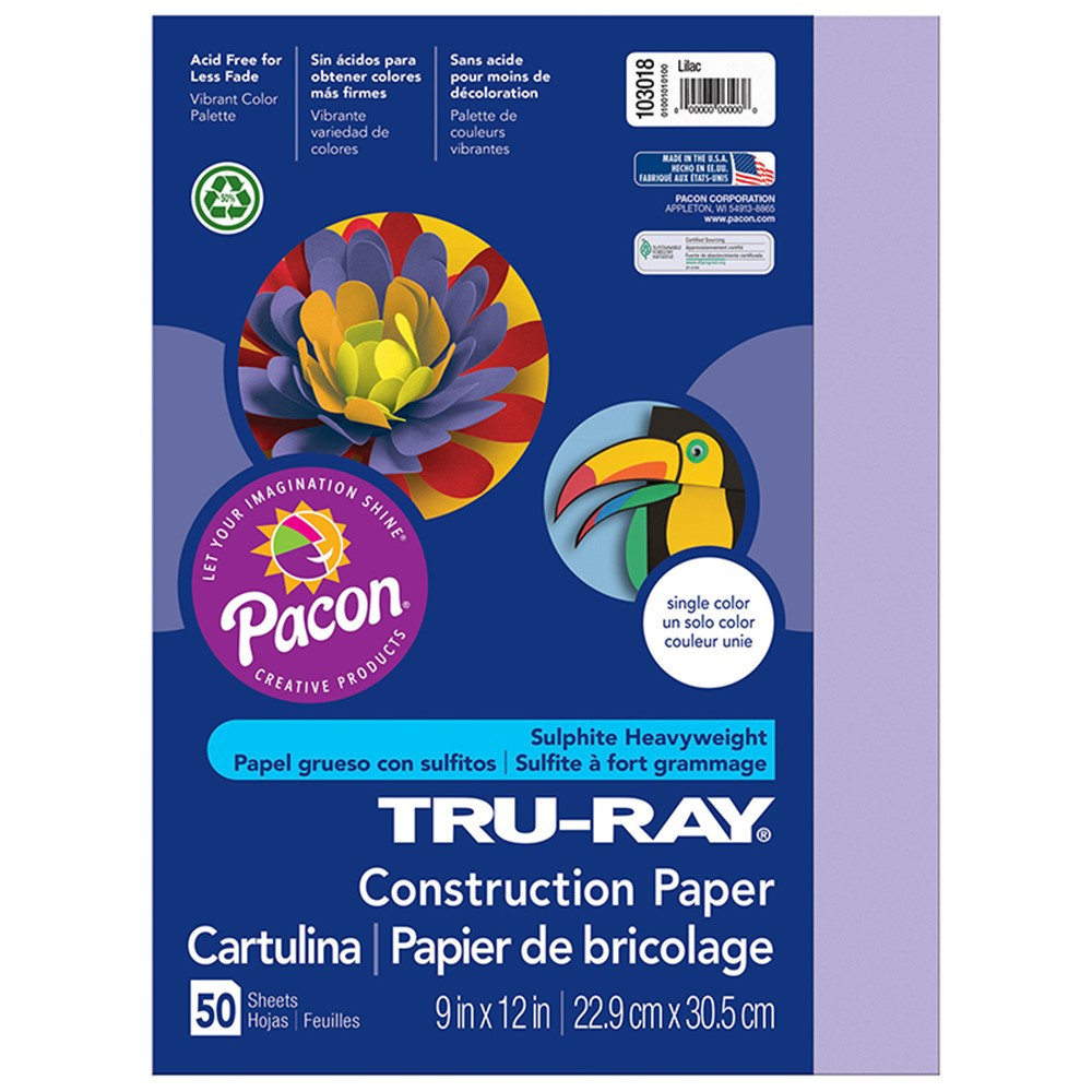 PAC103018 - Tru Ray 9 X 12 Lilac 50 Sht Construction Paper in Construction Paper