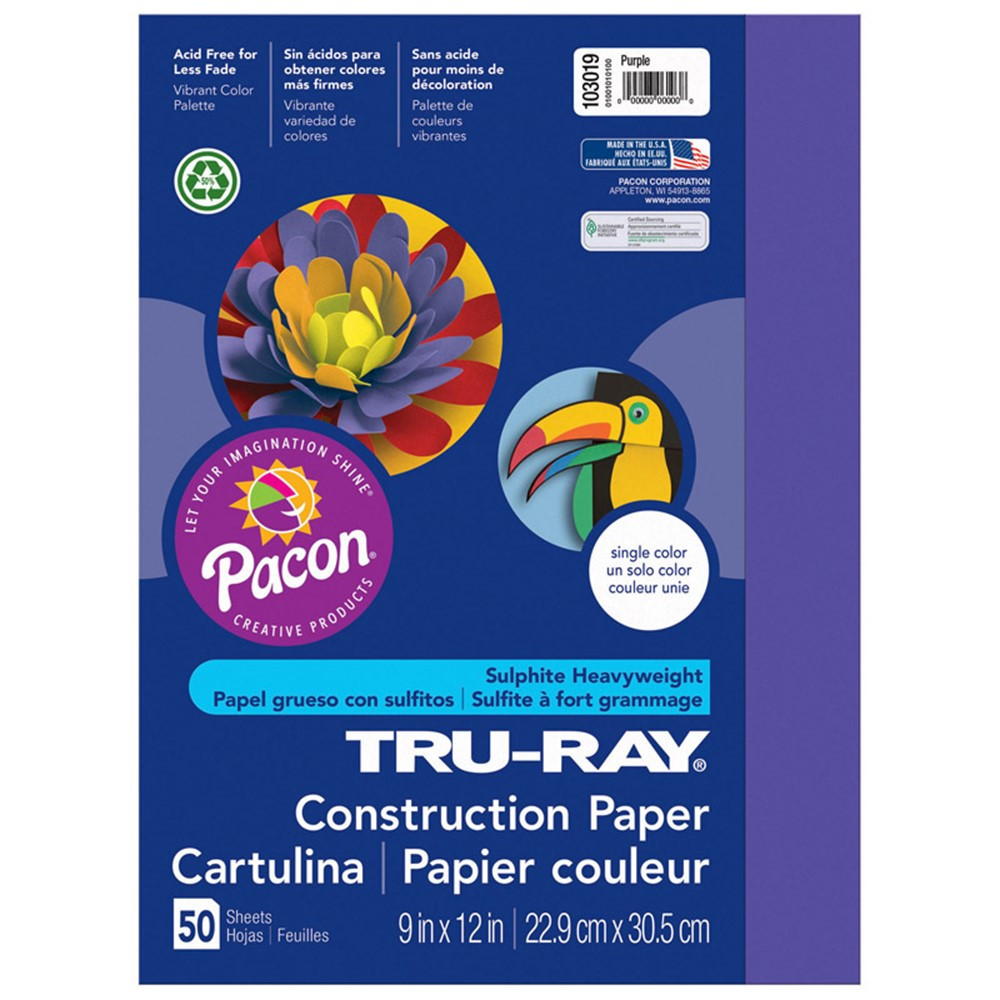PAC103019 - Tru Ray 9 X 12 Purple 50 Sht Construction Paper in Construction Paper
