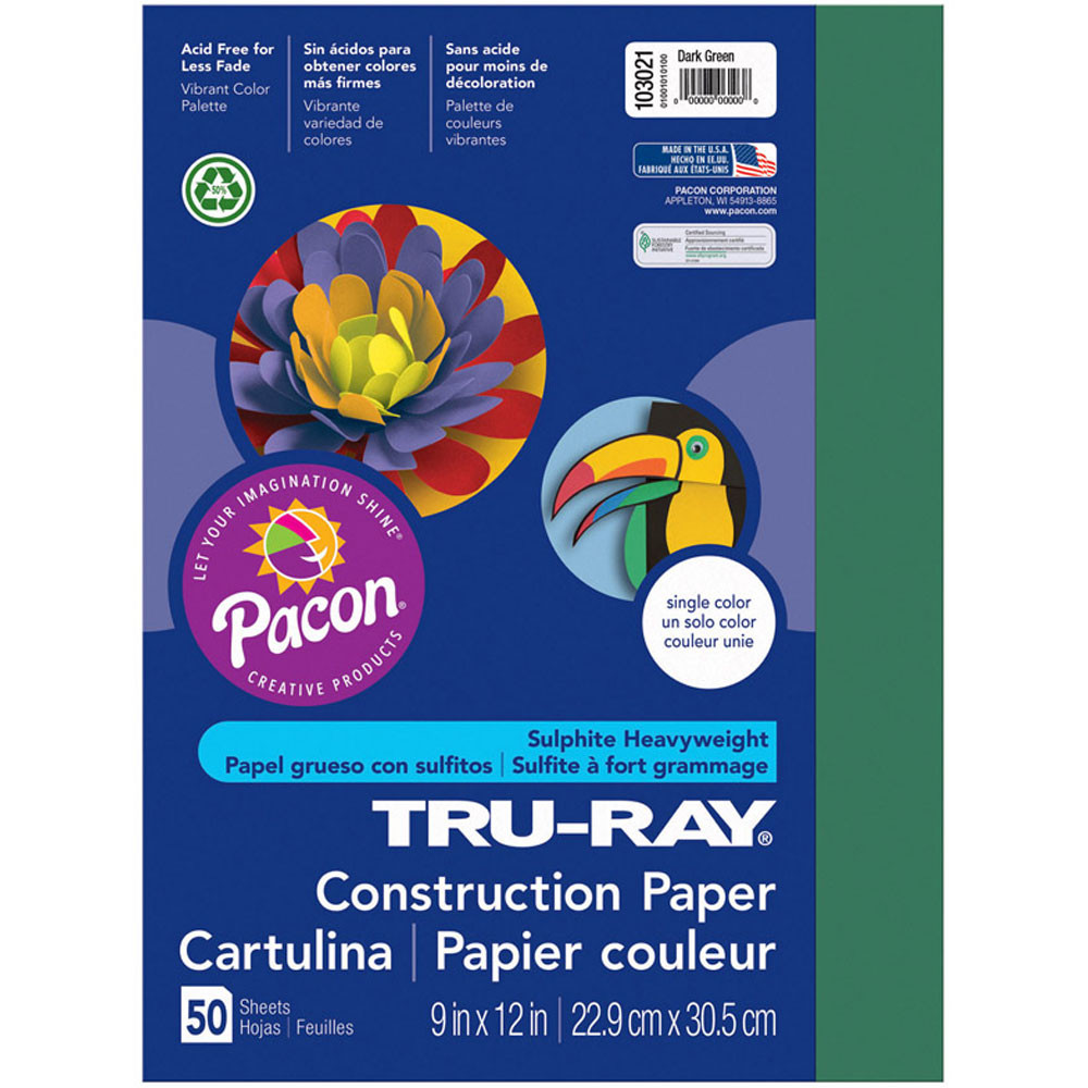 PAC103021 - Tru Ray 9 X 12 Dark Green 50 Sht Construction Paper in Construction Paper