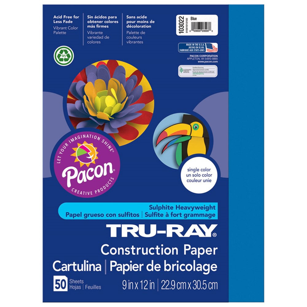 PAC103022 - Tru Ray 9 X 12 Blue 50 Sht Construction Paper in Construction Paper