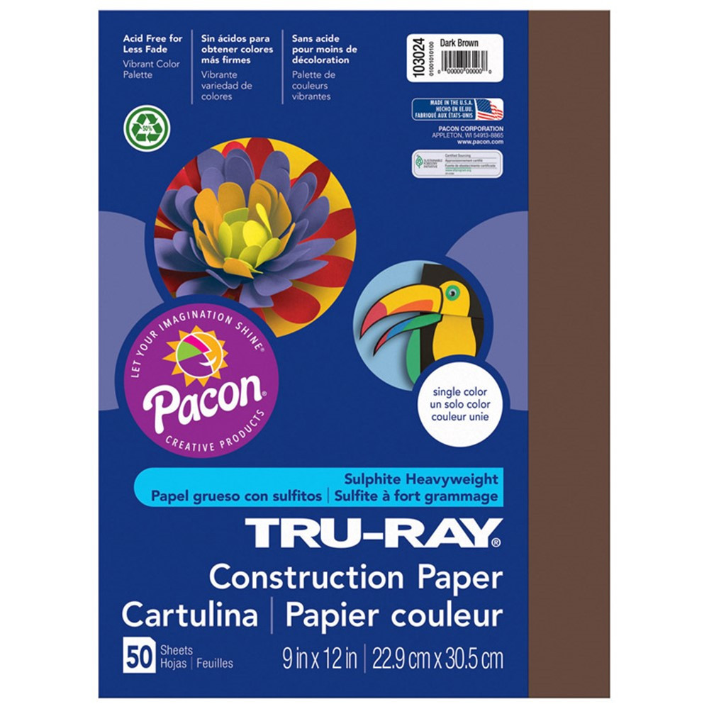 PAC103024 - Tru Ray 9 X 12 Dark Brown 50 Sht Construction Paper in Construction Paper