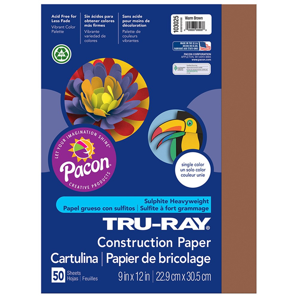 PAC103025 - Tru Ray 9 X 12 Brown 50 Sht Construction Paper in Construction Paper