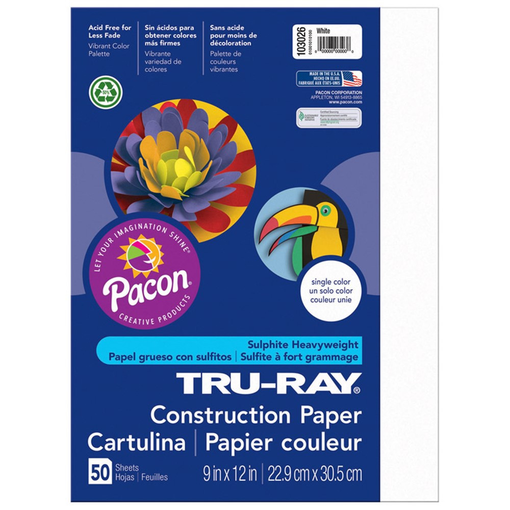 PAC103026 - Tru Ray 9 X 12 White 50 Sht Construction Paper in Construction Paper