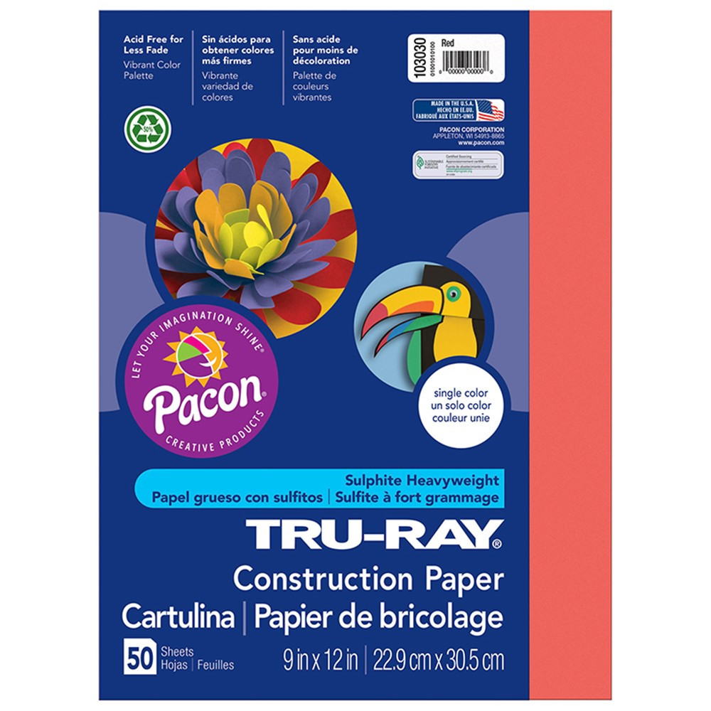 PAC103030 - Tru Ray 9 X 12 Red 50 Sht Construction Paper in Construction Paper