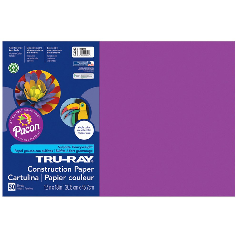 PAC103032 - Tru Ray 12 X 18 Magenta 50 Sht Construction Paper in Construction Paper