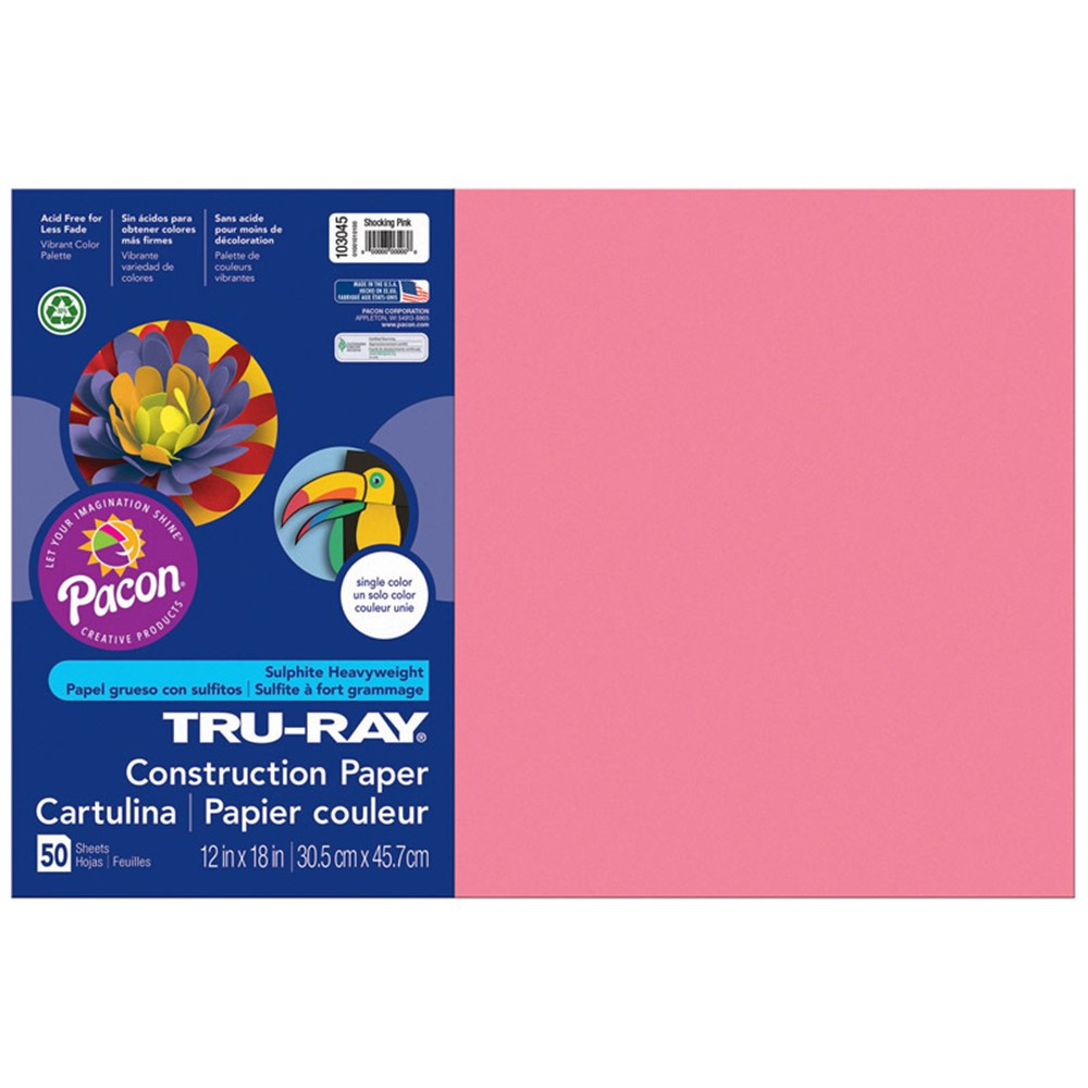 PAC103045 - Tru Ray 12 X 18 Shocking Pink 50Sht Construction Paper in Construction Paper