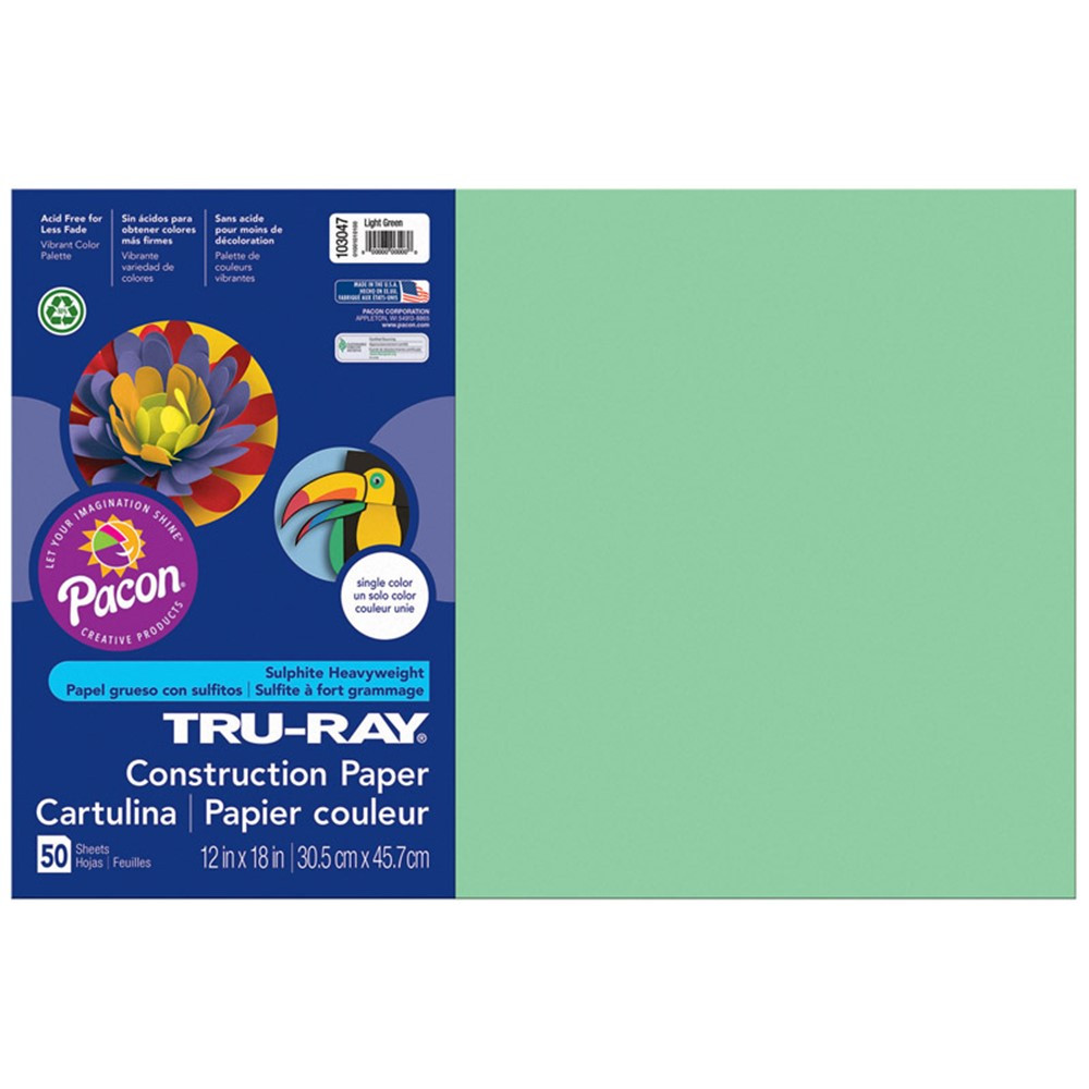 PAC103047 - Tru Ray 12 X 18 Light Green 50 Sht Construction Paper in Construction Paper
