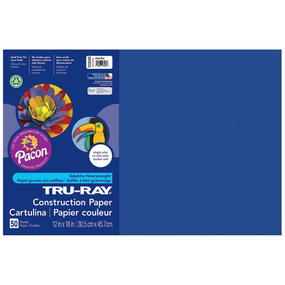 PAC103049 - Tru Ray 12 X 18 Royal Blue 50 Sht Construction Paper in Construction Paper
