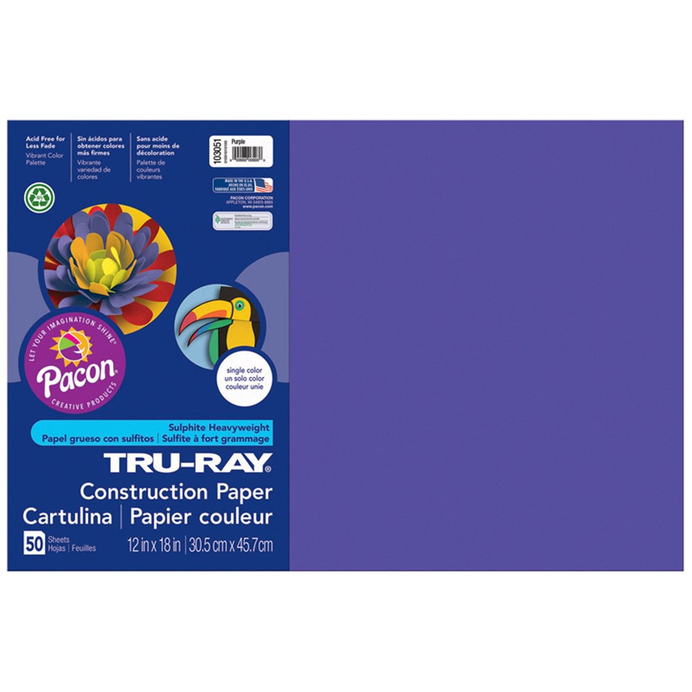 PAC103051 - Tru Ray 12 X 18 Purple 50 Sht Construction Paper in Construction Paper