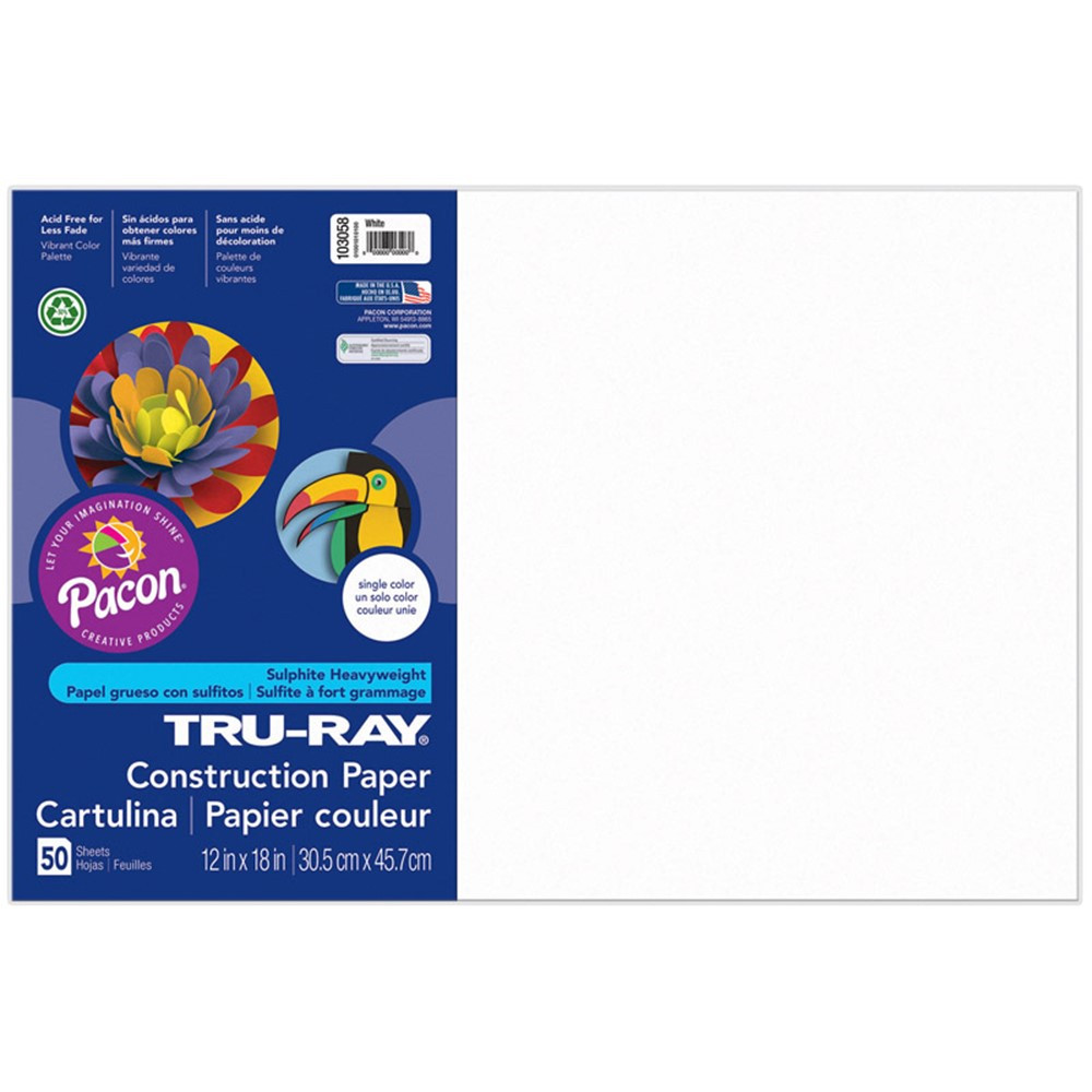 PAC103058 - Tru Ray 12 X 18 White 50 Sht Construction Paper in Construction Paper