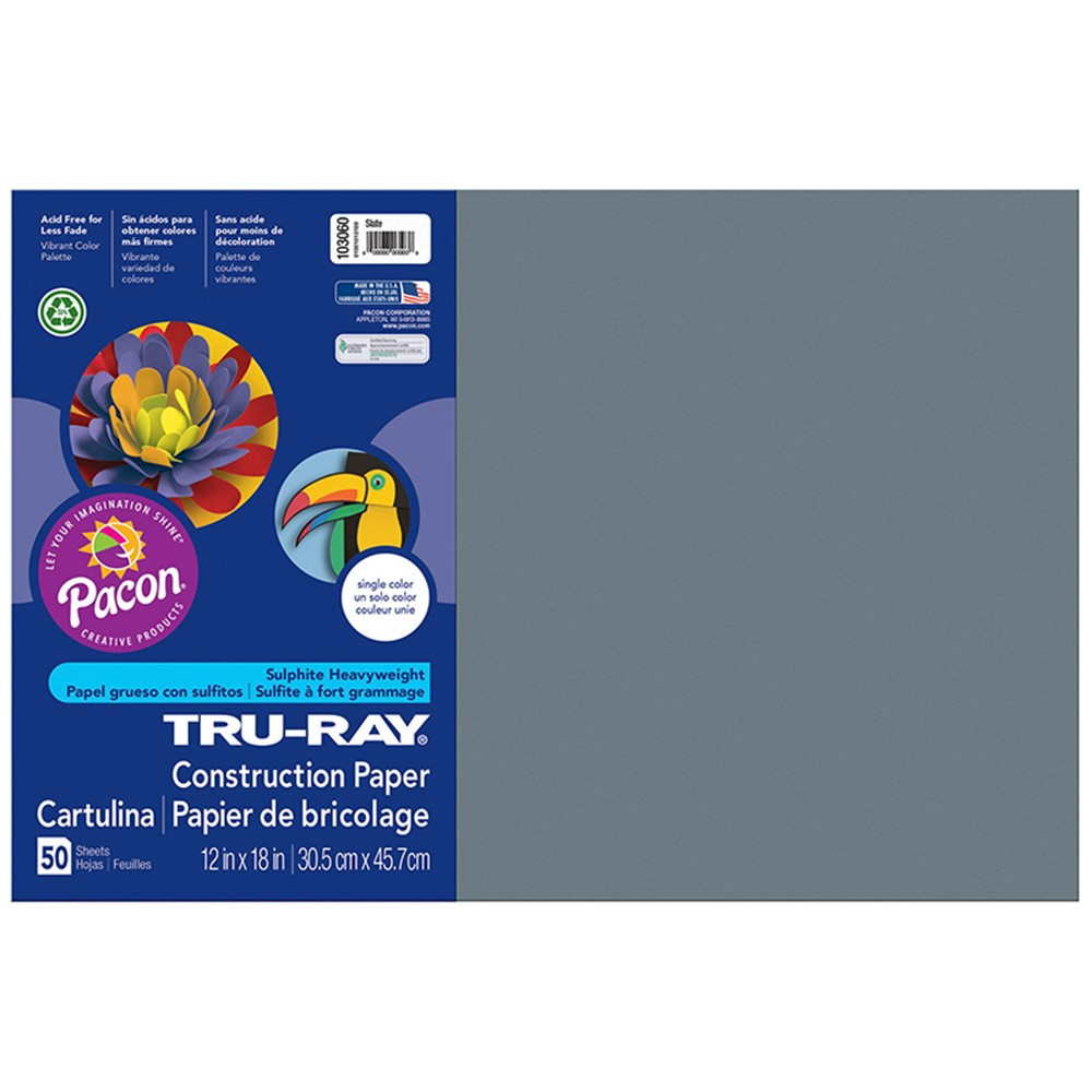 PAC103060 - Construction Paper Slate 12X18 in Construction Paper