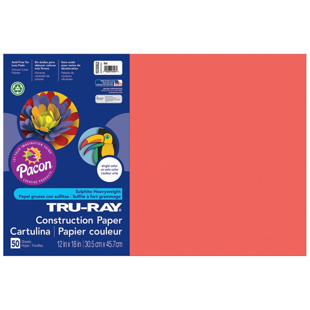 PAC103062 - Tru Ray 12 X 18 Red 50 Sht Construction Paper in Construction Paper