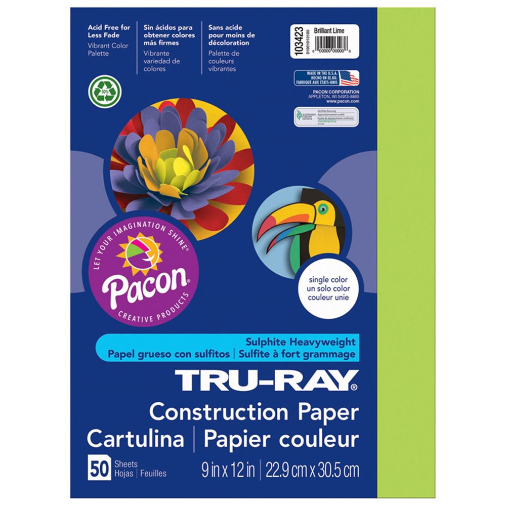 PAC103423 - Tru Ray 9 X 12 Brilliant Lime 50Sht Construction Paper in Construction Paper