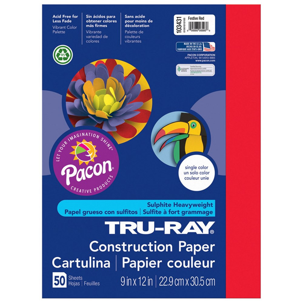 PAC103431 - Tru Ray 9 X 12 Festive Red 50 Sht Construction Paper in Construction Paper