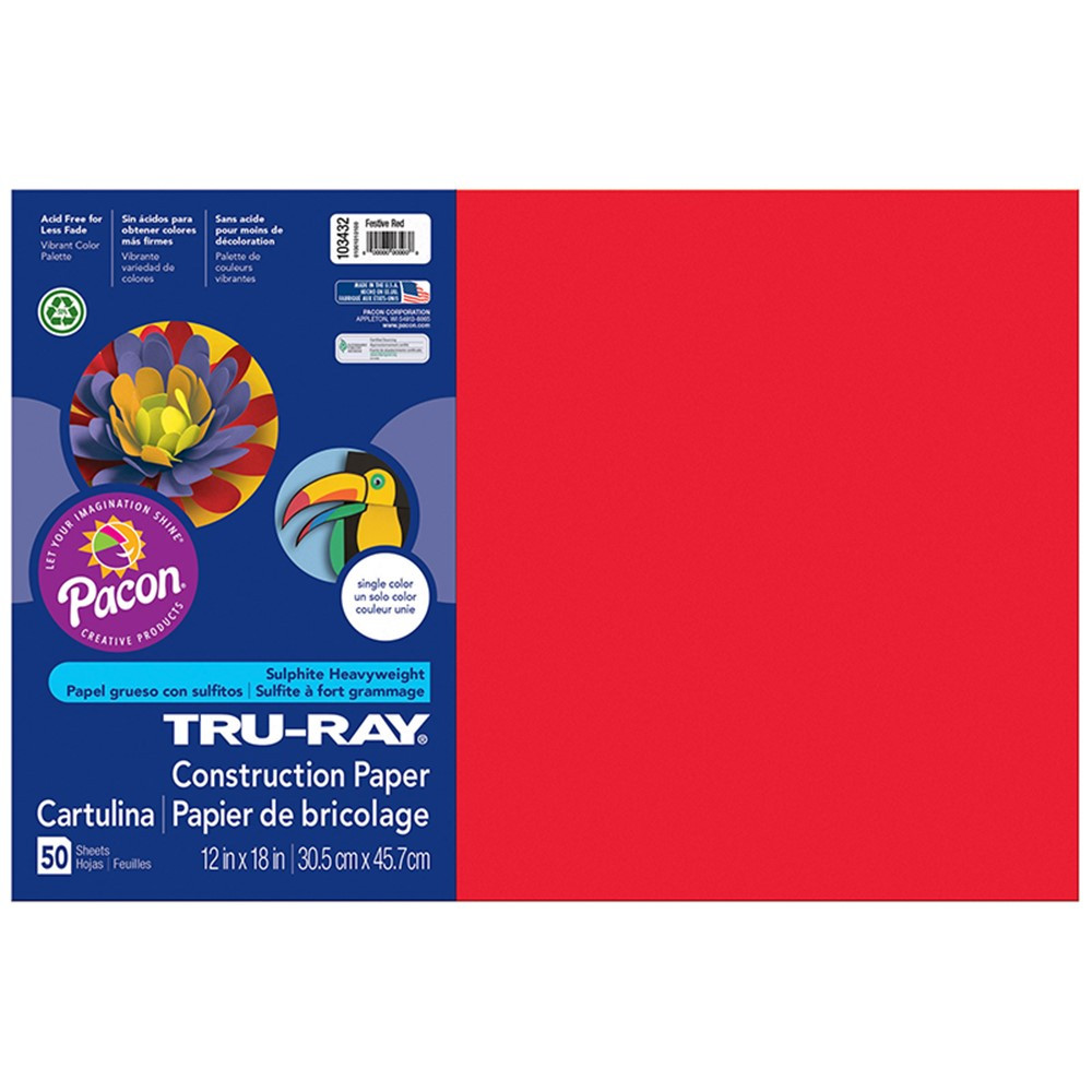 PAC103432 - Tru Ray 12 X 18 Festive Red 50 Sht Construction Paper in Construction Paper